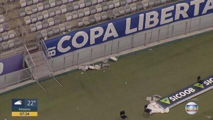 Globocop mostra Estádio Mineirão depredado após jogo do Cruzeiro e Palmeiras