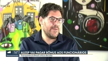 Funcionários da Alesp vão receber bônus de fim de ano;Transparência Brasil critica