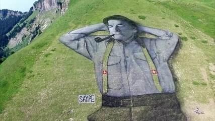 Artistas usam a natureza para criar pinturas na Suíça