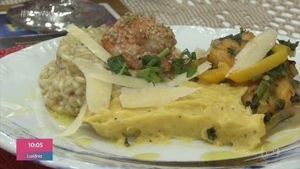 Evandra serve o prato principal e recebe visita da chef Bárbara