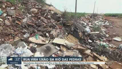Moradores de Rio das Pedras fazem descarte irregular de lixo no bairro Vitório Cezarino