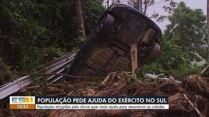 População atingida pela chuva quer ajuda do Exército para reconstruir as cidades do ES