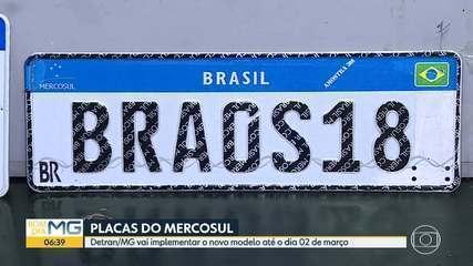 Implantação das novas placas do Mercosul em MG está prevista para 2 de março
