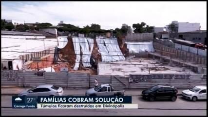 Parentes cobram retirada de restos mortais após queda de muro de cemitério em Divinópolis