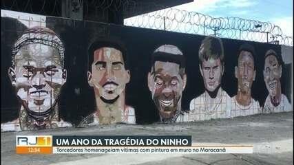 Torcedores do Flamengo fazem homenagem à vítimas do incêndio no Ninho do Urubu