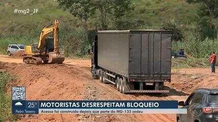 Motoristas são flagrados passando por acesso em construção na MG-133 em Tabuleiro