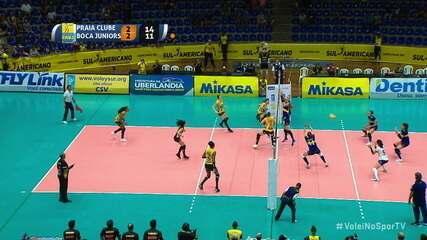 Pontos finais de Praia Clube 3 x 2 Boca Juniors pelo Sul-Americano de vôlei feminino