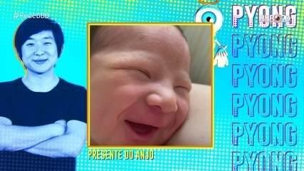 Reveja! Pyong vê pela primeira vez foto do filho no Almoço do Anjo, no 'BBB'