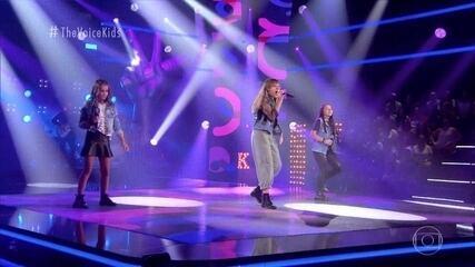 Giovana Aguilera, Giovana Linhares e Hévelyn Medeiros cantam 'Rock n Roll'