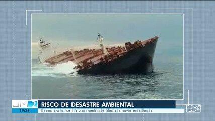 Ibama avalia risco de desastre ambiental por navio encalhado na costa do MA