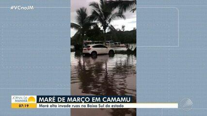 Avanço da maré atinge cidades de Belmonte e Camamu