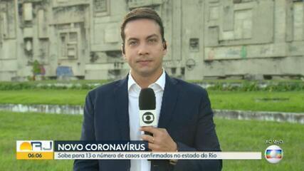 Sobe para 13 o número de casos confirmados do novo coronavírus no RJ