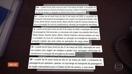 Governo do Rio suspende transporte intermunicipal e voos