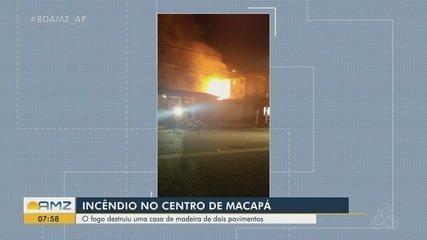 Incêndio destrói casa e deixa idoso ferido no Centro de Macapá
