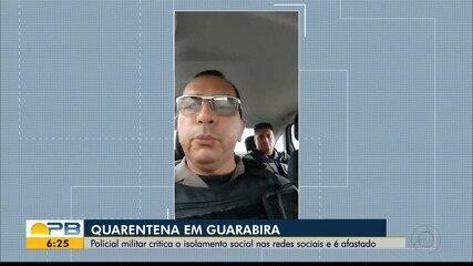 Policial militar critica isolamento social nas redes sociais e é afasatado, em Guarabira