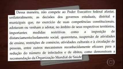Moraes proíbe Bolsonaro de derrubar decisões de estados sobre isolamento