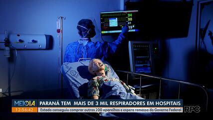 Paraná tem mais de três mil respiradores em hospitais