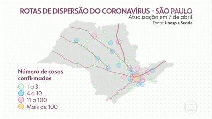 Mapa mostra que coronavírus avança para o interior de SP