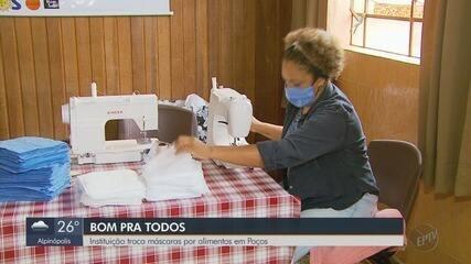 Instituição troca máscaras por alimentos em Poços de Caldas, MG