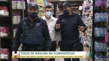 O uso da máscara passou a ser obrigatório em Florianópolis e a fiscalização já está na rua