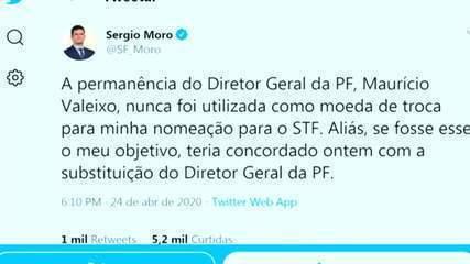 Sergio Moro se defende em rede social de acusação de Bolsonaro em pronunciamento