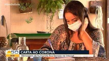 Humorista goiana bomba na web após escrever carta para o coronavírus
