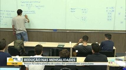 Procon-RJ cobra planilha de custos das universidades particulares