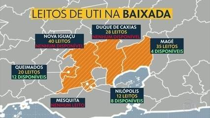 Muitas cidades da Baixada Fluminense estão sem leitos e até macas para atender pacientes