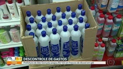 Prefeitura de São Gonçalo pagou R$105 por unidade de 800 frascos de álcool em gel