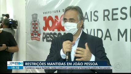 JPB2JP: Restrições mantidas por mais 15 dias em João Pessoa