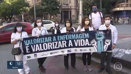Na linha de frente da pandemia, trabalhadores da enfermagem recebem homenagem