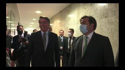 Veja imagens do encontro de Bolsonaro e Maia