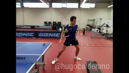 Treinamento físico de Hugo Calderano, do tênis de mesa