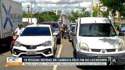 18 pessoas são detidas em carreata que descumpre lockdown em Fortaleza