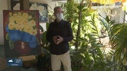 Aposentado pinta quadros e expõe na garagem durante a quarentena em Ribeirão Preto