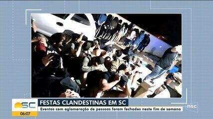Festas clandestinas durante a pandemia são encerradas em SC no fim de semana
