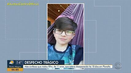 Encontrado corpo de menino desaparecido há 10 dias em Planalto; mãe confessou o crime à polícia