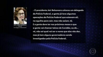 Carla Zambelli antecipou a rádio que governadores seriam alvos de operações da PF