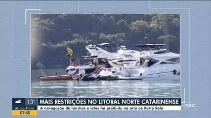 Porto Belo proíbe navegação de lanchas e iates de passeio para evitar aglomerações