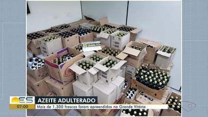 Mais de 1,3 mil frascos de azeite adulterado são apreendidos no ES