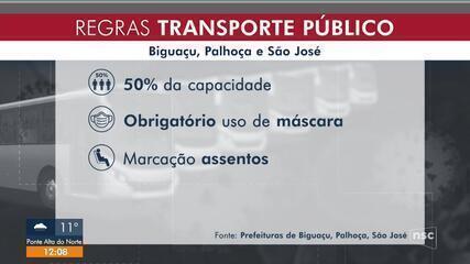 Transporte coletivo em São José, Palhoça e Biguaçu voltam a circular na segunda-feira (8)