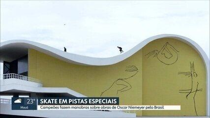 Campeões andam de skate sobre obras de Oscar Niemeyer pelo Brasil