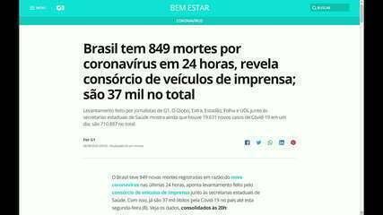 Brasil tem 849 mortes por coronavírus em 24 horas, revela consórcio de imprensa