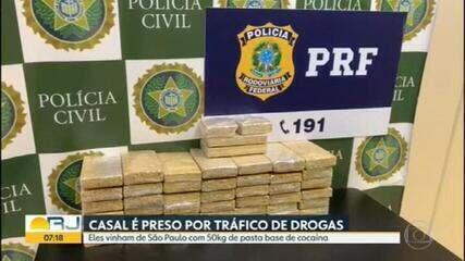 Casal é preso em flagrante com 50 kg de pasta base de cocaína