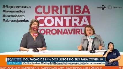 Curitiba registra ocupação de 84% dos leitos de UTI exclusivos para tratamento de Covid-19