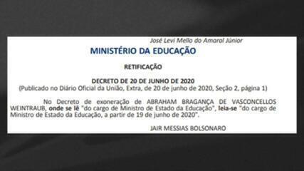 Bolsonaro retifica data de exoneração de Abraham Weintraub