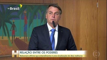 Bolsonaro diz que 'entendimento' com Toffoli, Maia e Alcolumbre sinaliza 'dias melhores'