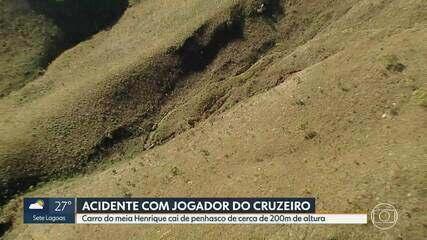 Carro do jogador Henrique, do Cruzeiro, despenca de penhasco; jogador passa bem