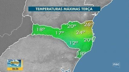 Confira a previsão do tempo para esta terça-feira em Santa Catarina
