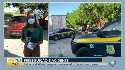 Perseguição da PRF a veículo roubado termina com suspeito preso, em João Pessoa